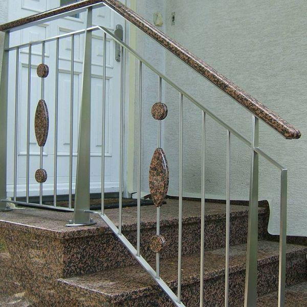 Aussentreppe Edelstahl Holz ~ Bild Nr GE 12 Aussentreppe mit Edelstahlgeländer mit Geländerstäbe